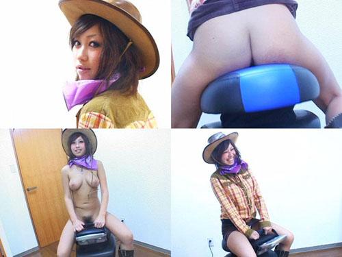 パンチラフェチ:ロデオマシーンに乗るデニムミニスカートのカウボーイ娘